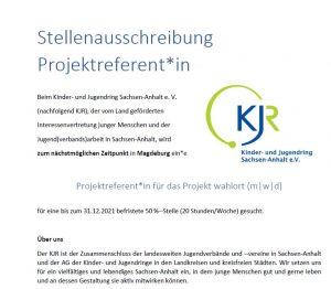 Stellenausschreibung Projektreferent*in (m|w|d) für das Projekt wahlort